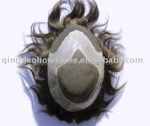 factory price 100% indian remy human hair toupee / wig for men