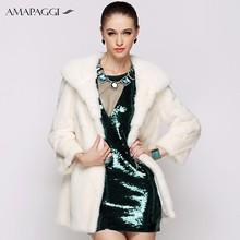 Pure Quality Winter Long Women White Mink Fur Coat With Elegant hat