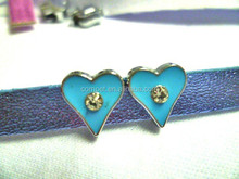 Wholesale rhinestone heart charm, heart shaped slide charm, 8mm heart slider Beads