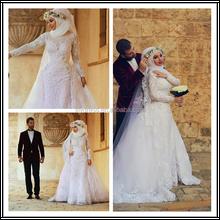 Lace Long Sleeves High Neck Floor Length Custom Make Long Formal Bridal Design Robe De Mariee HS128 muslim wedding gown