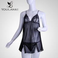 2015 Top Sale Fantastic Mesh Mature Woman Sexy Black Transparent Lingerie