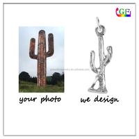 Italian Silver Cactus Plant 3D Pendant Desert Plant charm