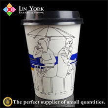 promotional reusable colorful print 12oz hot coffee paper cup with lids
