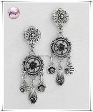 Antique Silvertone Metal / Black Accents / Lead Compliant / Flower Themed Dangles / Post Earring Set