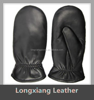 100% Sheep Wool Fur Lined Lambskin Leather Mittens Gloves for Men