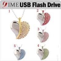 Lover Gift Jewelry Heart Shape USB Flash Drive Real Capacity 4gb 8gb 16gb 32gb 64gb USB Pen Drive Necklace Pendrive Usb Disk