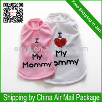 A1005 I love Mummy Summer Dog T-Shirt I Love Daddy Cat Clothes Lover Free Shipping All Over the World Factory