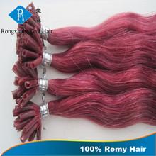 New Products Italian Keratin 100% Human Remy u tip wavy hair extentions