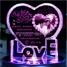 LED Standing colours Heart Shaped Crystal for your lover crystal gift