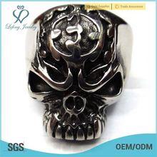flaming skull rings,stainless steel ring terminal,316l stainless steel eyebrow ring