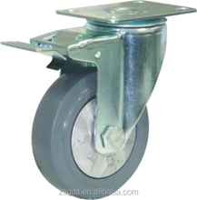125mm medium duty grey ER swivel caster with brake with single bearing