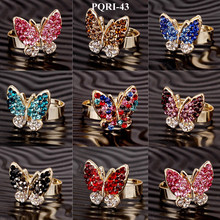 Mix color wholesale zinc alloy rhinestone butterfly adjustable ring