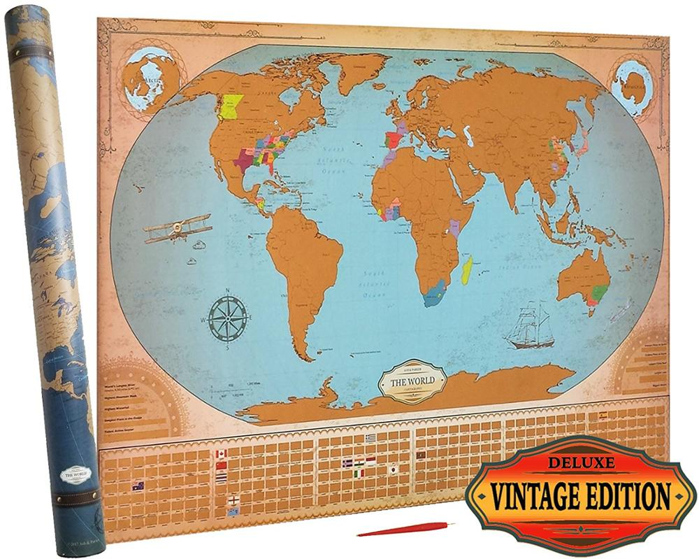 Deluxe Scratch Off World Map - Vintage Edition - States & Provinces For  Us,Canada,Australia - Xl Large Poster 24x36 Ama-20 - Buy Deluxe Scratch Off  ...