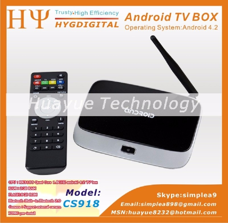 Kodi plein chargé CS918 Android TV Box 4.4 RK3188 Quad Core q7 Smart TV Media Player sans fil Contrôleur À Distance