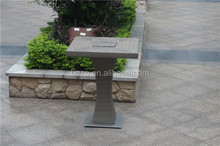 Outdoor rattan high bar table, garden wicker bar table glass furniture