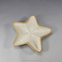Chinese star shape gold gilt edged porcelain fruit plate ,candy plate