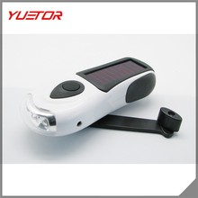 Secur Waterproof Hand crank or built in Solar powered 3 LED Zoom Flashlight, High power 3 functions LED, Dynamo powered no batte