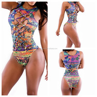 Wholesale2015 New Style Romper Hot Sexy Print out Bikini Swimsuit Party Bandage