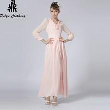 puff sleeve Chiffon romantic dress European evening dress elegant style formal dress fashion Islamic dress