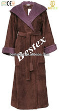 Extra Long Sleeve Hooded Velour Women Dressing Gowns
