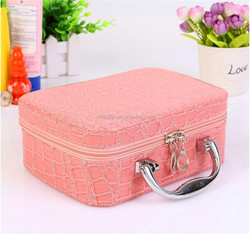 Beautiful PU Leather Cosmetic Case /Large Size Portable Makeup brush box with Brush Pot combination lock zipper cosmetic case