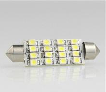 20pcs/lot Car Light Bulb Car Interior Dome Festoon 16 SMD LED Bulb Light Super White Lamp 39mm 2740