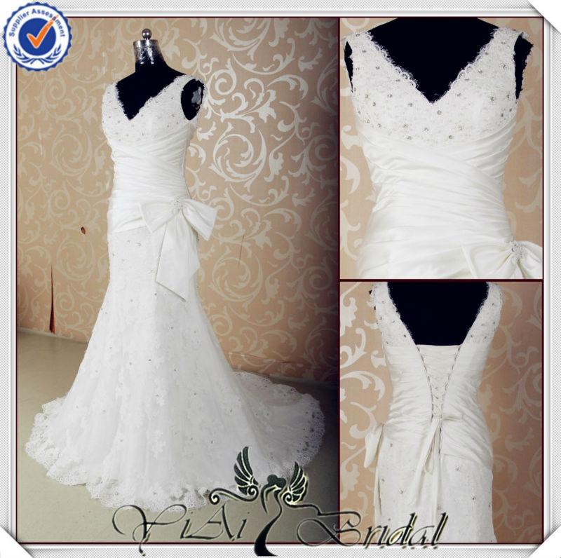 jj3579 col v en cristal de dentelle robe de mariée sirène avec des rubans de satin arc 2014