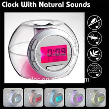 7 colour Changing light Nature Sound Alarm Clock,table alarm clock,digital clock