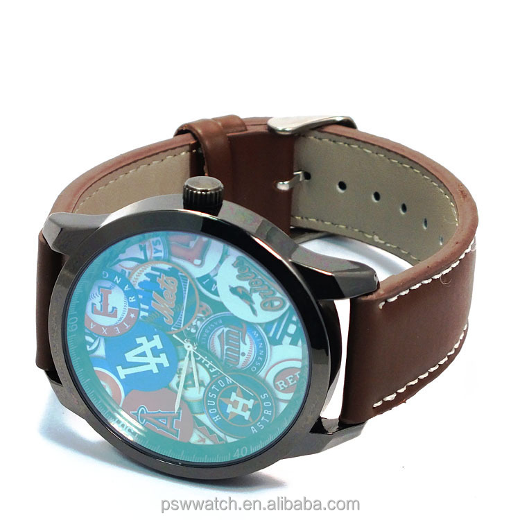 2015 China watch factory flower dial vogue watch leather strap wristwatch