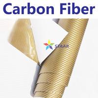 Gold high polymeric 3D carbon fiber holographic car vinyl wrap carbon fiber vinyl