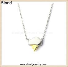 Creative design lightening flash and cloud shape neckalces, Sland handmade sterling silver necklace of high quality