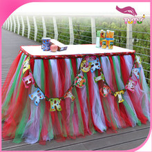 2015 popular multicolored ruffled tulle table skirt with Christmas tree designed on the border for party decoration Christmas