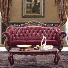 Oxblood Genuine Lather Sectional Sofa 3+2+1 Foshan Shunde Meubles