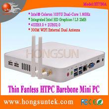 Fanless Mini Barebone PC Intel Celeron 1037U 1.80Ghz Dual Core 2 Threads Processor portable linux mini pc