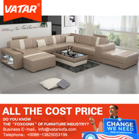 VATAR home furniture luxury nappa khaki leather sofa factory direct