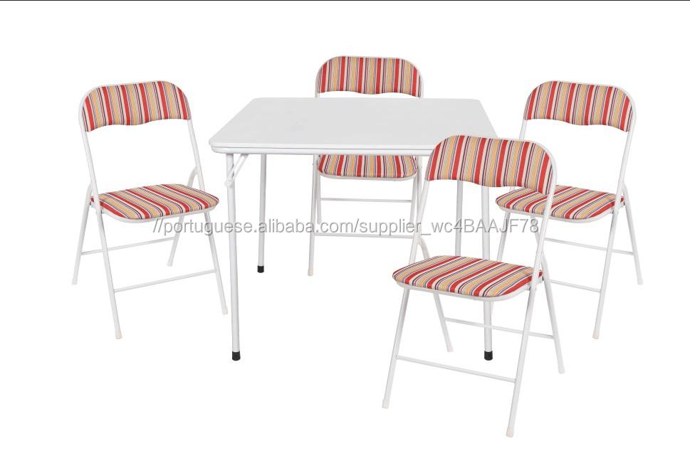 5 pedaço Preto dobrável mesa e cadeira set cartão