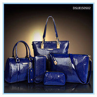 patent leather crocodile texture lady 6pcs sets handbag