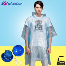 clear promotional pe rain poncho in ball