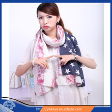 2015 newly the Stars and the Stripes Printed Infinity Cotton Scarf Shawl