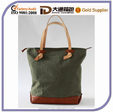 Leather and canvas shopper bag woman bags purses handle bag
