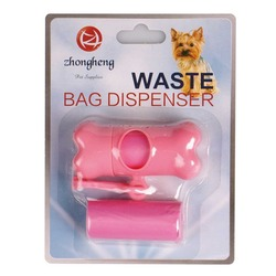 Dog Waste Bag Bone Shaped Waste Bag with Dispenser and Leash Clip