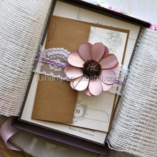 beautiful flower with lace ribbon with box linen wedding invitation card