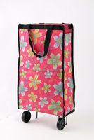 600d polyester folding handled shopping wheel bag