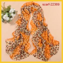 silk neckerchief scarf with polk dot print and leopard print