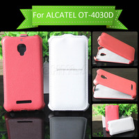 High Quality PU leather Flip case Cover for Alcatel one touch S'POP 4030 OT 4030D open up and down