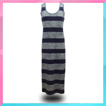 OEM manufacturer summer sleeveless striped long dress