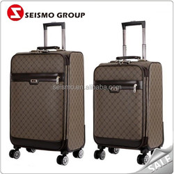 PU Leather Luggage Trolley Bag for Cabin Business Travel
