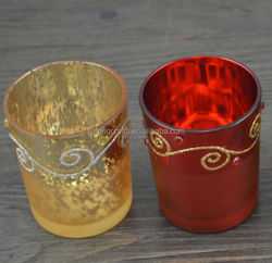 hand etched glass candle holder holiday home