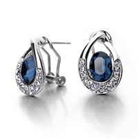 White gold plated earring of Blue Crystal earring with needle and Clip earring from jewelry factory