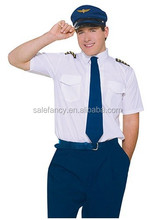 Mens Top Gun airline pilot uniform Aviator Flight Suit Jumpsuit 80s Fancy Dress Costume QAMC-2289